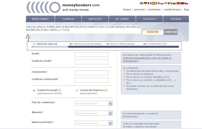 PASOS A SEGUIR PARA ENVIAR DINERO POR MONEYBOOKERS Formul10