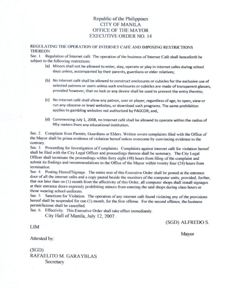 Manila Mayor Executive Order No. 14 Eo1410