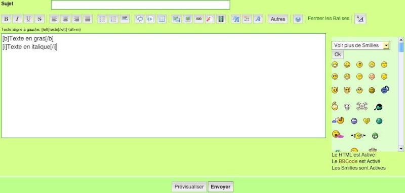 Les éditeurs pour poster un message Edit210