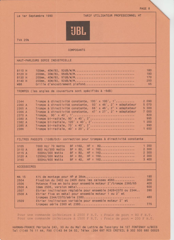 Tarif neuf du vintage pour donner une idée (gamme HIFI et pro de la fin des années 70 au début des années 2000) Numzo709