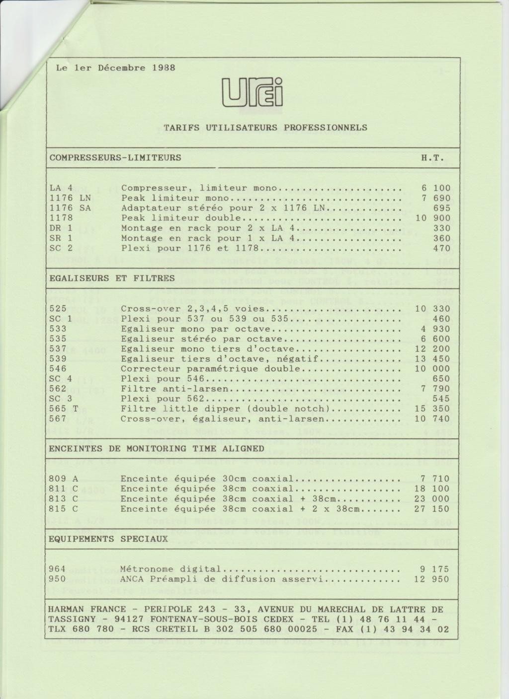 Tarif neuf du vintage pour donner une idée (gamme HIFI et pro de la fin des années 70 au début des années 2000) Numzo729