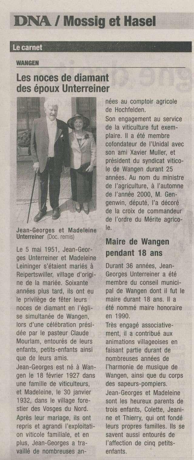 noces - Des noces de diamant à Wangen pour Madeleine et Jean-Georges Unterreiner! Image135