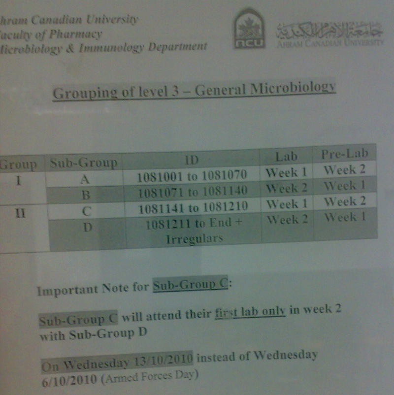 General Microbiology Grouping Level-3 10102011