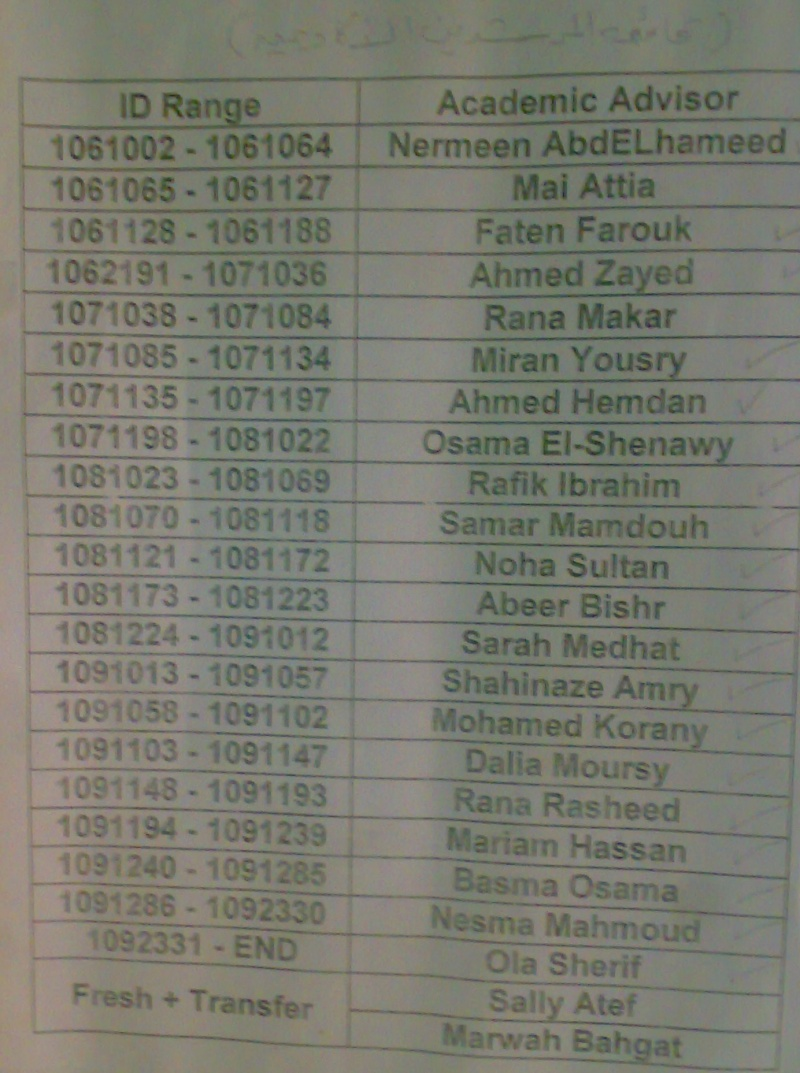Academic Advisors List 10102012