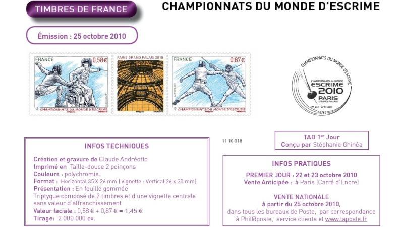 Timbres France (Escrime) - Championnats du Monde d'Escrime Escrim11