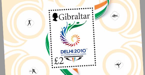 Timbre Gibraltar - Jeux du Commonwealth 2010 (Delhi) Gibral10