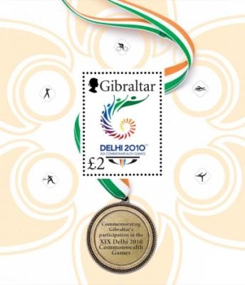 Timbre Gibraltar - Jeux du Commonwealth 2010 (Delhi) Philat14