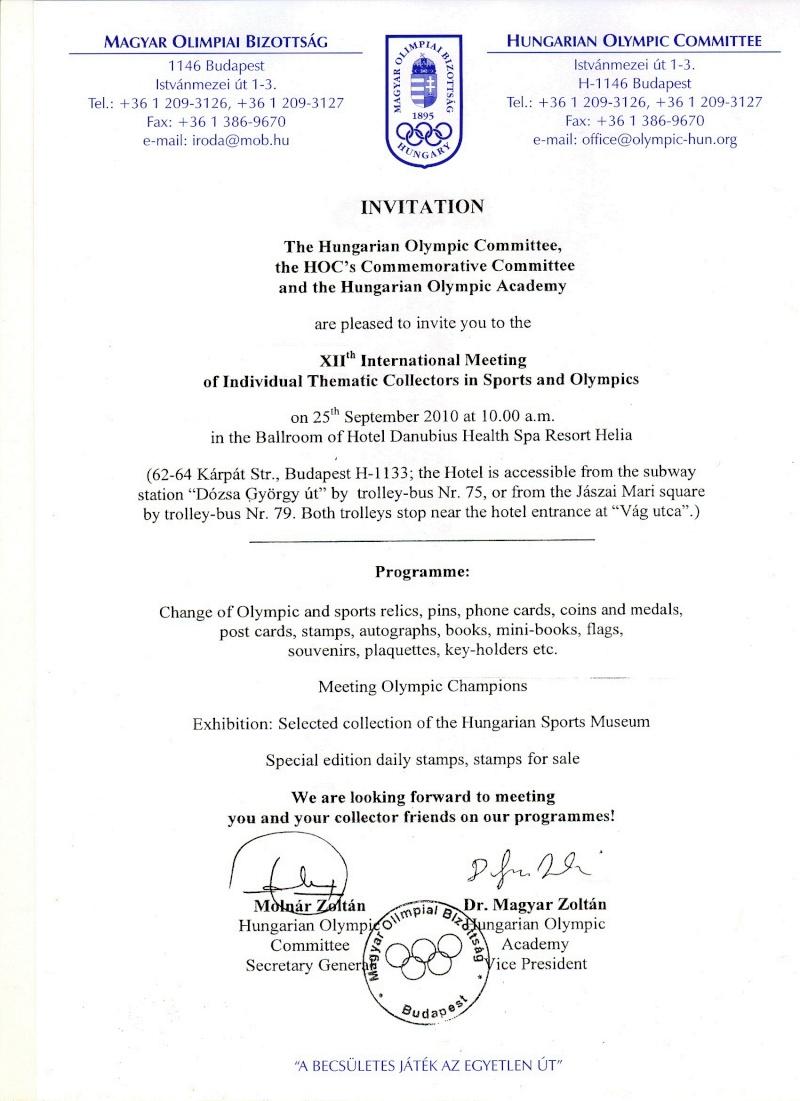 12ème RENCONTRE/BOURSE INTERNATIONALE SPORTS ET OLYMPISME - Budapest, Hongrie Xii_co10