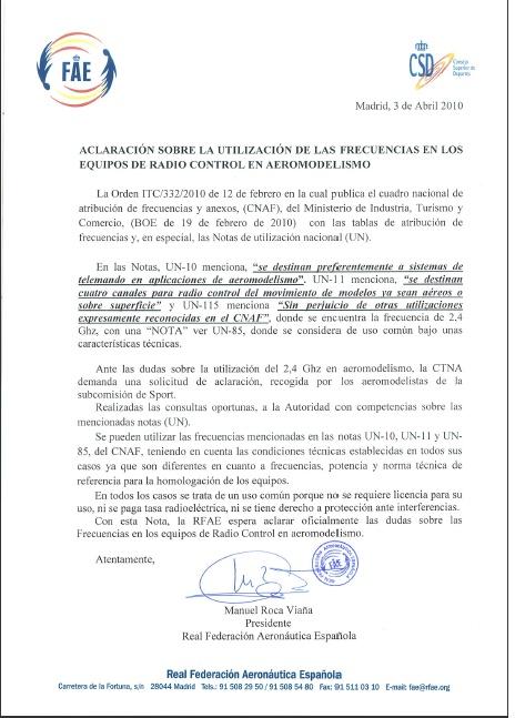 Carta FAE aclaración sobre la utilización de frecuencias en Aeromodelismo Aclara10