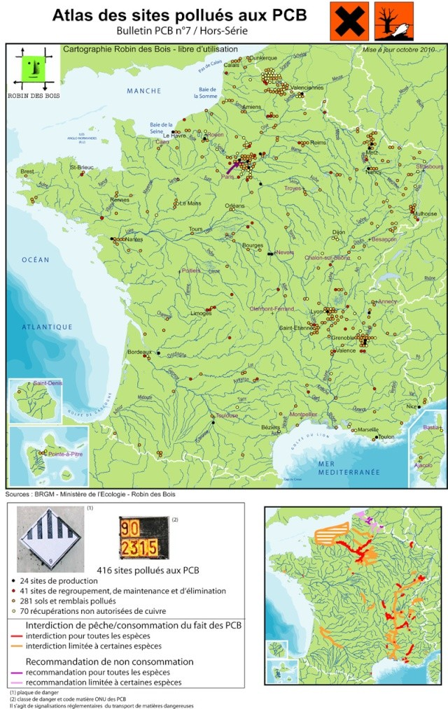 dossier - Dossier sur les sites SEVESO, PCB et marées noires en eaux intérieures : une pollution à la française (cartes, images, pdf, ...). Pcb_si10