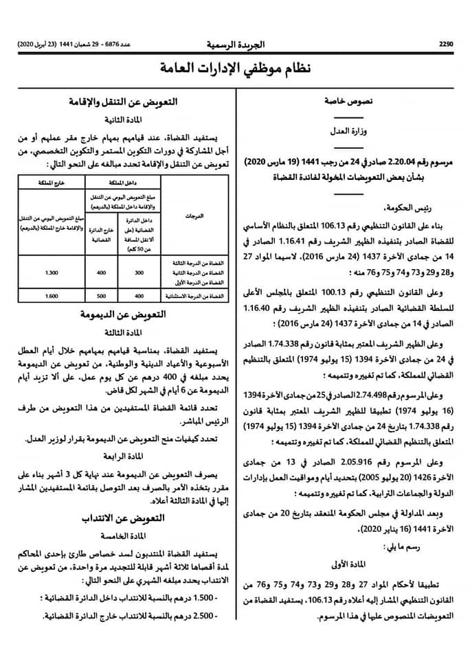 المرسوم الخاص بالتعويضات المخولة لفائدة القضاة الصادر في 19 مارس 2020 1110