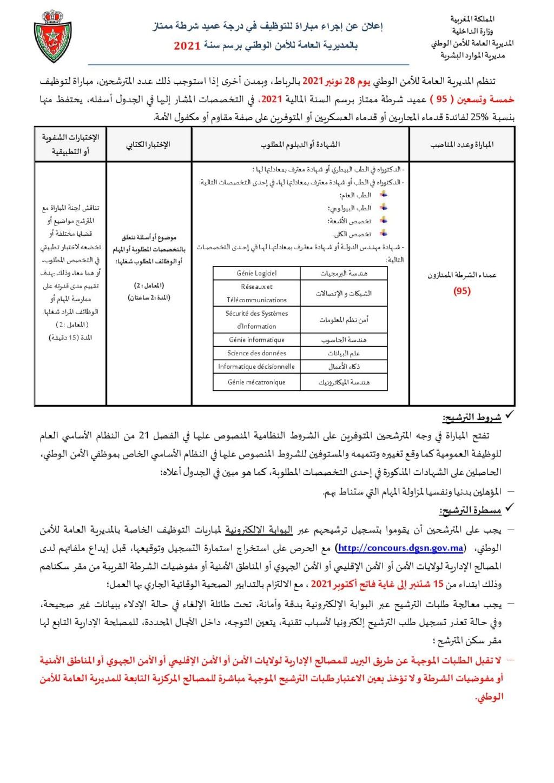 الأمن الوطني: مباراة توظيف 95 عميد شرطة ممتاز . آخر أجل هو 1 أكتوبر 2021 118