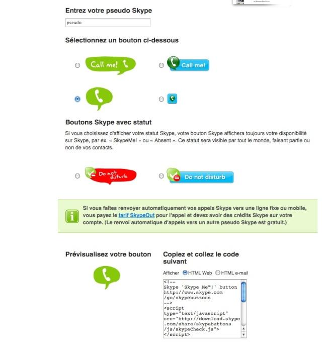 Intégrer un bouton skype à votre site web Captur25