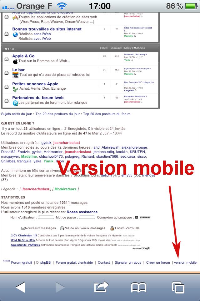 Version Mobile  du forum des utilisateurs iWeb Forum-13