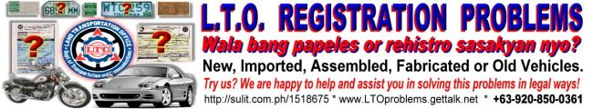 LTO REGISTRATION PROBLEMS
