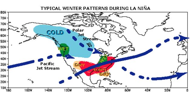 NOAA Previsioni Invernali 2010/2011 U.S.A. Lanina10