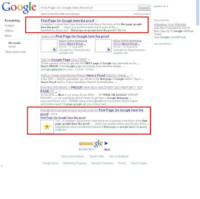 First Page On Google here the proof Top_go10