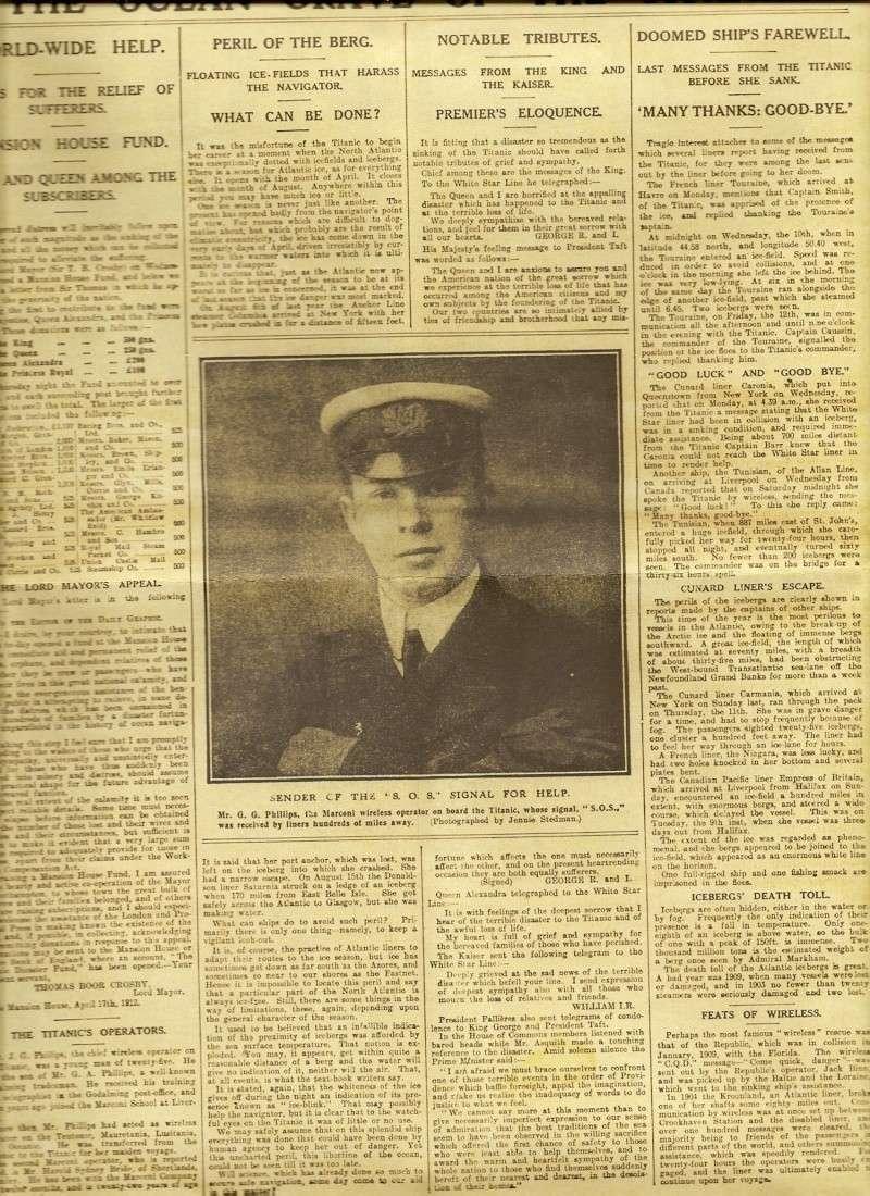Le naufrage du Titanic fait la une des journaux Numari16