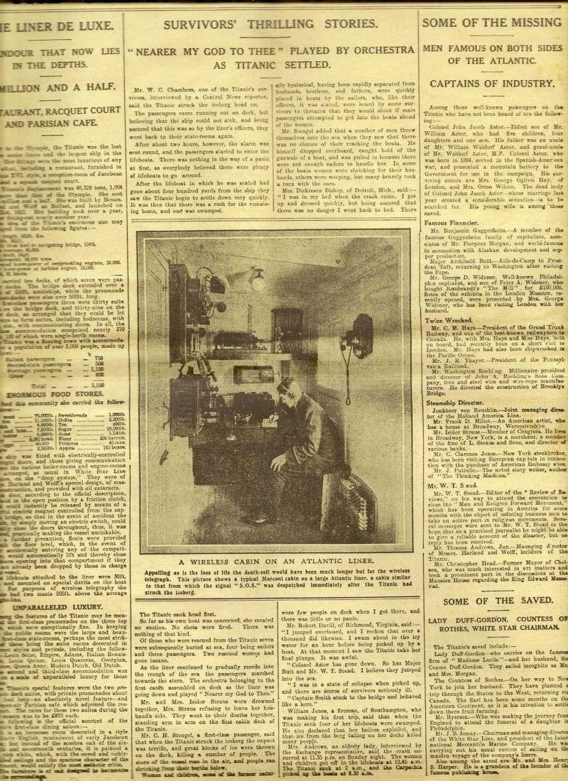 Le naufrage du Titanic fait la une des journaux Numari17