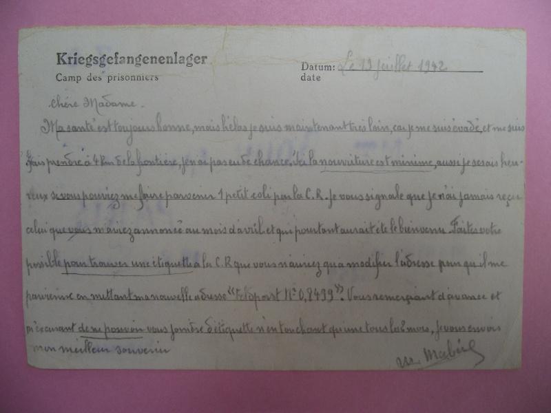lettres de prisoniers de guerre Lettre19