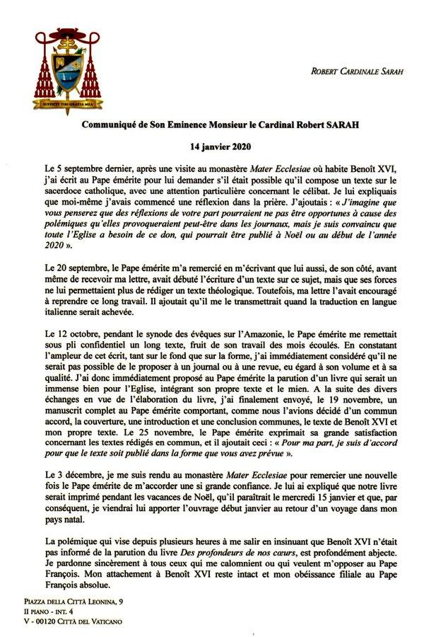 BENOIT XVI ECRIT UN LIVRE AVEC LE CARDINAL SARAH SUR LE CELIBAT SACERDOTAL - Page 2 Commun10