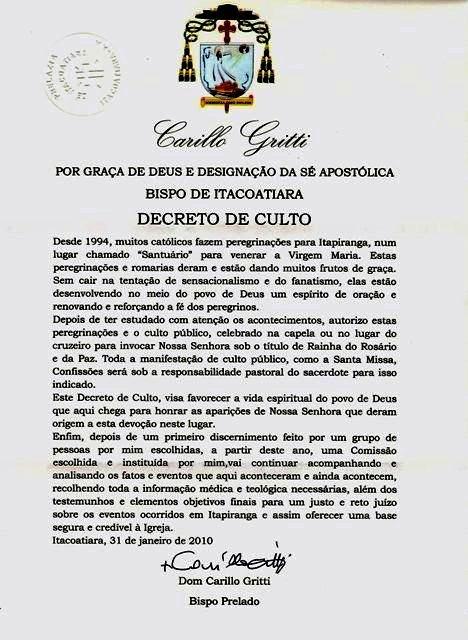Serafino (frère de Conchita) dit que l'Avertissement se produirait après un déchirement de l'Eglise Decret10