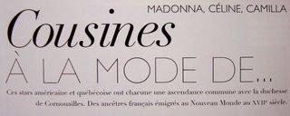 Madonna, Céline Dion et la duchesse de Cornouailles... des cousines! Titre_10