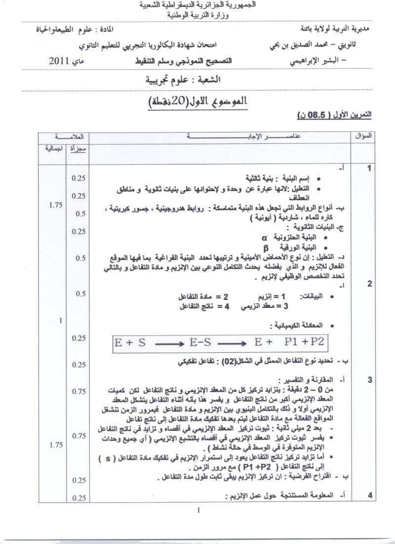 امتحان شهادة البكالوريا التجريبي للتعليم الثانوي - ماي 2011 00110