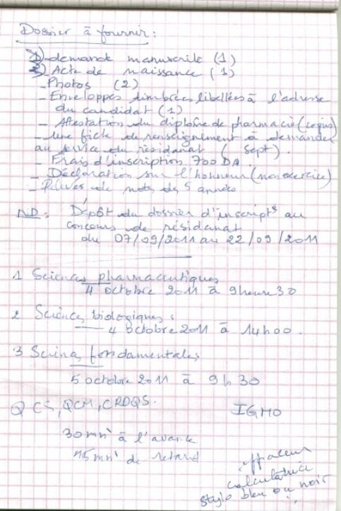 le programme détaillé du concours résidanat 2011 Oran  Pharma28