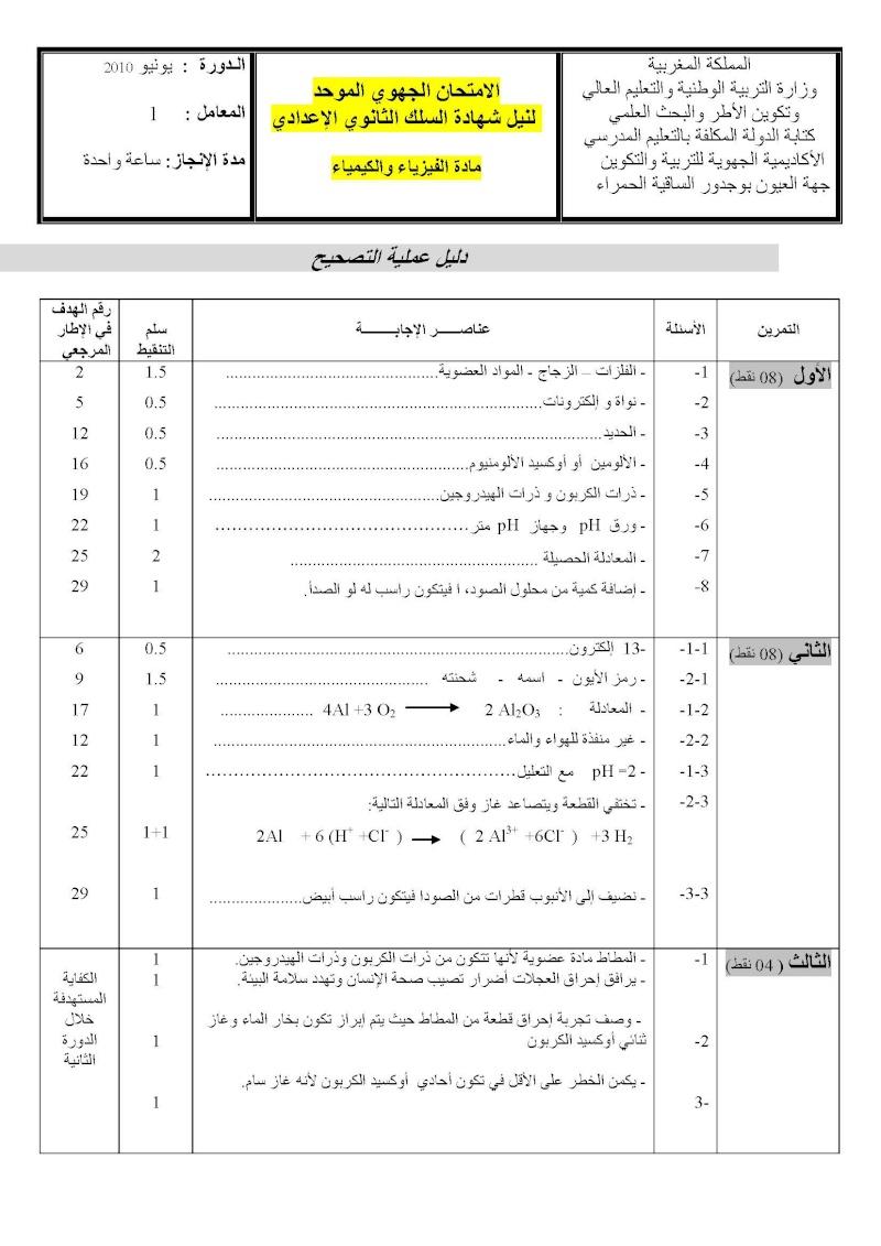الامتحان الجهوي الموحد في الفيزياء لنيل شهادة السلك الاعدادي يونيو 2010 مع عناصر الإجابة (جهة العيون) 02pc_c10