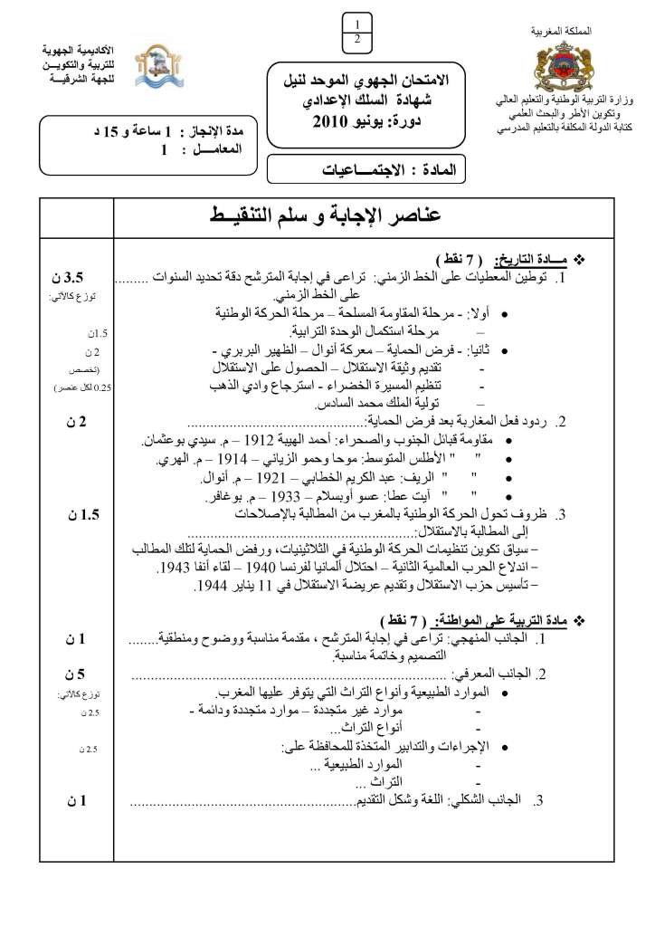الامتحان الجهوي الموحد في الاجتماعيات لنيل شهادة السلك الاعدادي يونيو 2010 مع عناصر الإجابة (الجهة الشرقية) 08hg_c10
