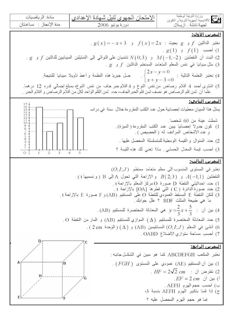الامتحان الجهوي الموحد للسنة الثالثة في مادة الرياضيات-جهة أزيلال(دورة يونيو 2006) Azilal10