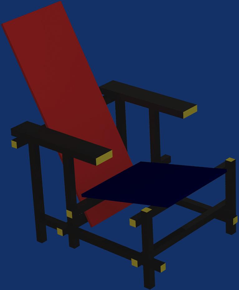 La chaise rouge et bleue de Rietveld Blanc_11