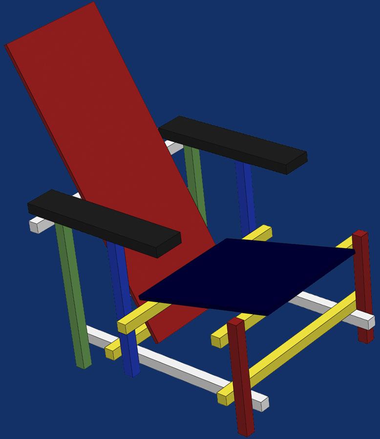 La chaise rouge et bleue de Rietveld Blanc_12