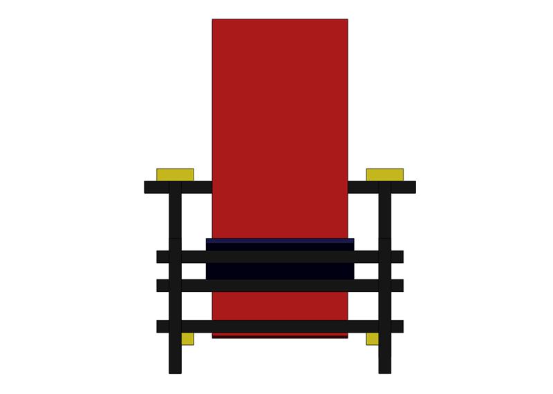 La chaise rouge et bleue de Rietveld Sans_t25