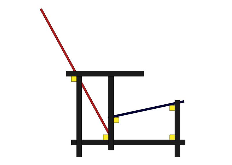 La chaise rouge et bleue de Rietveld Sans_t26