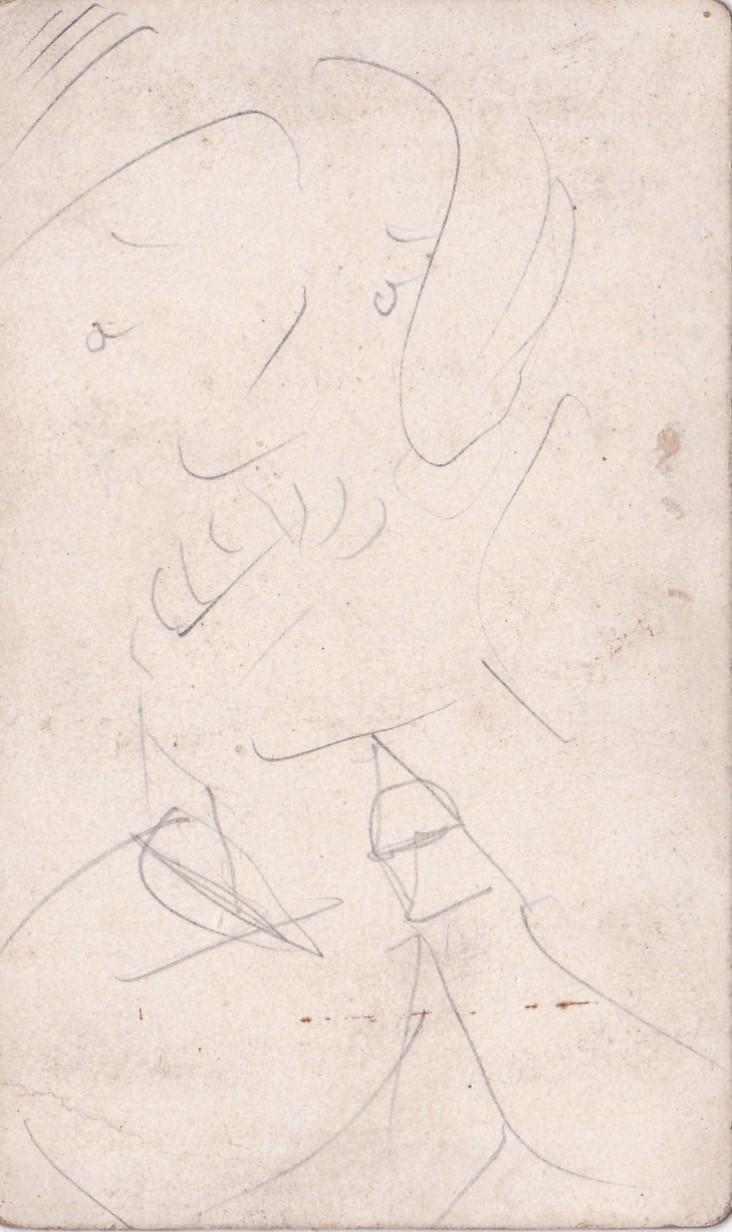 Photo ancienne cavalerie avec dessin d'un portrait a l'arrière Img_2309