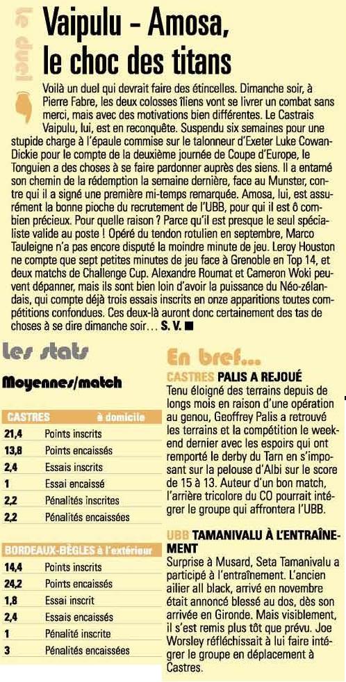 Top14 - 12ème journée : Castres / UBB Midol210
