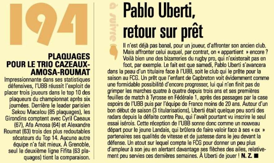 Top 14 - 7ème journée : Grenoble / UBB Sans_t72