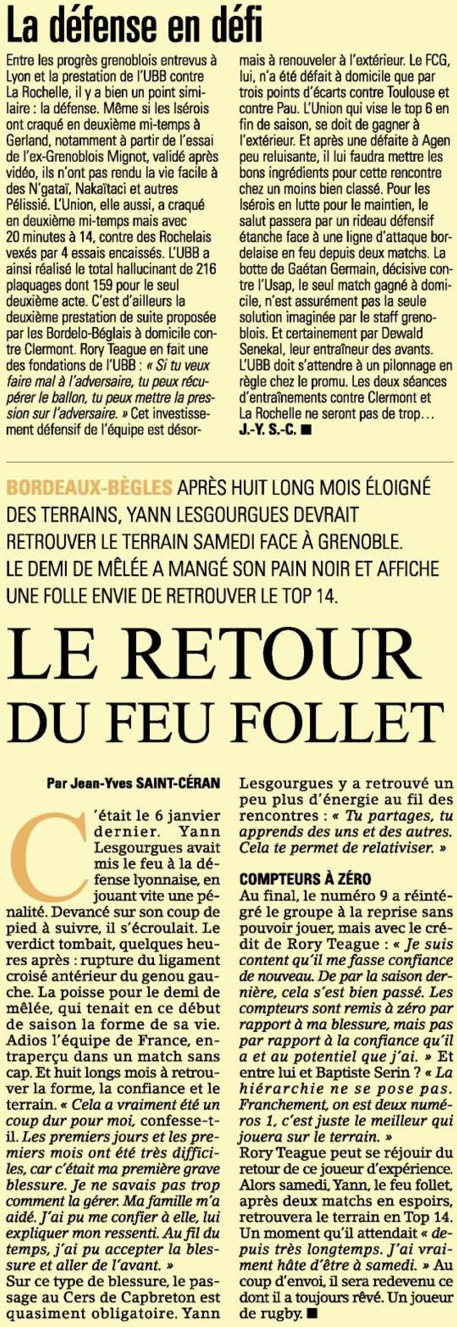 Top 14 - 7ème journée : Grenoble / UBB Sans_t73