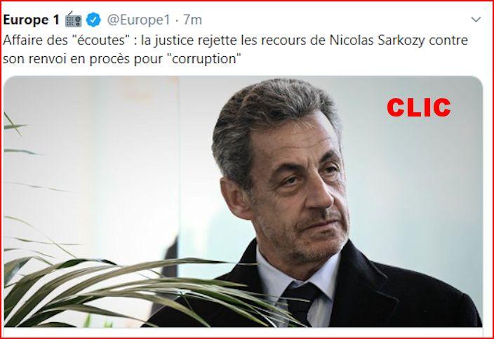 """Affaire des """"écoutes"""" : la justice rejette les recours de Nicolas Sarkozy... Europe15"""