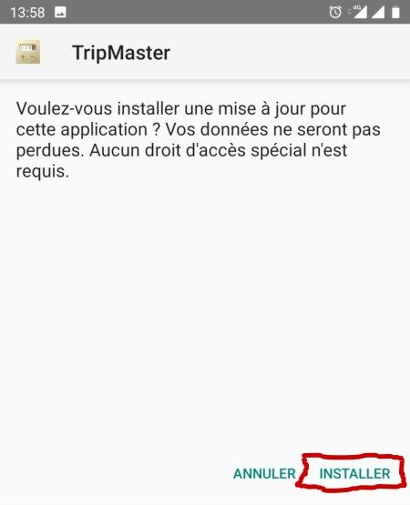 Application tripmaster Odometre Screen12