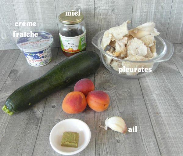 Pleurotes, abricots et crème de courgettes Sam_8218