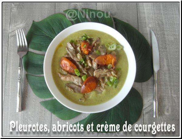 Pleurotes, abricots et crème de courgettes Sam_8219