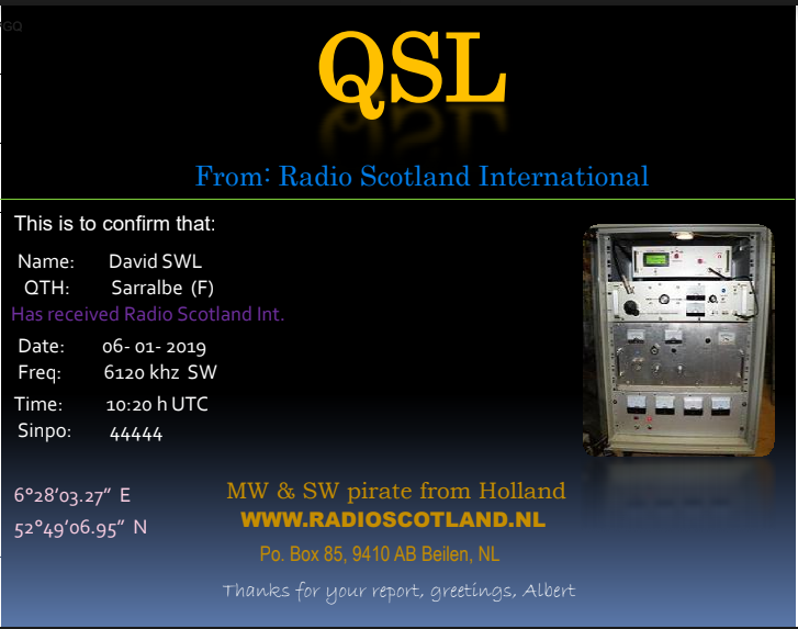 QSL de Radio Scotland International 06-01-10