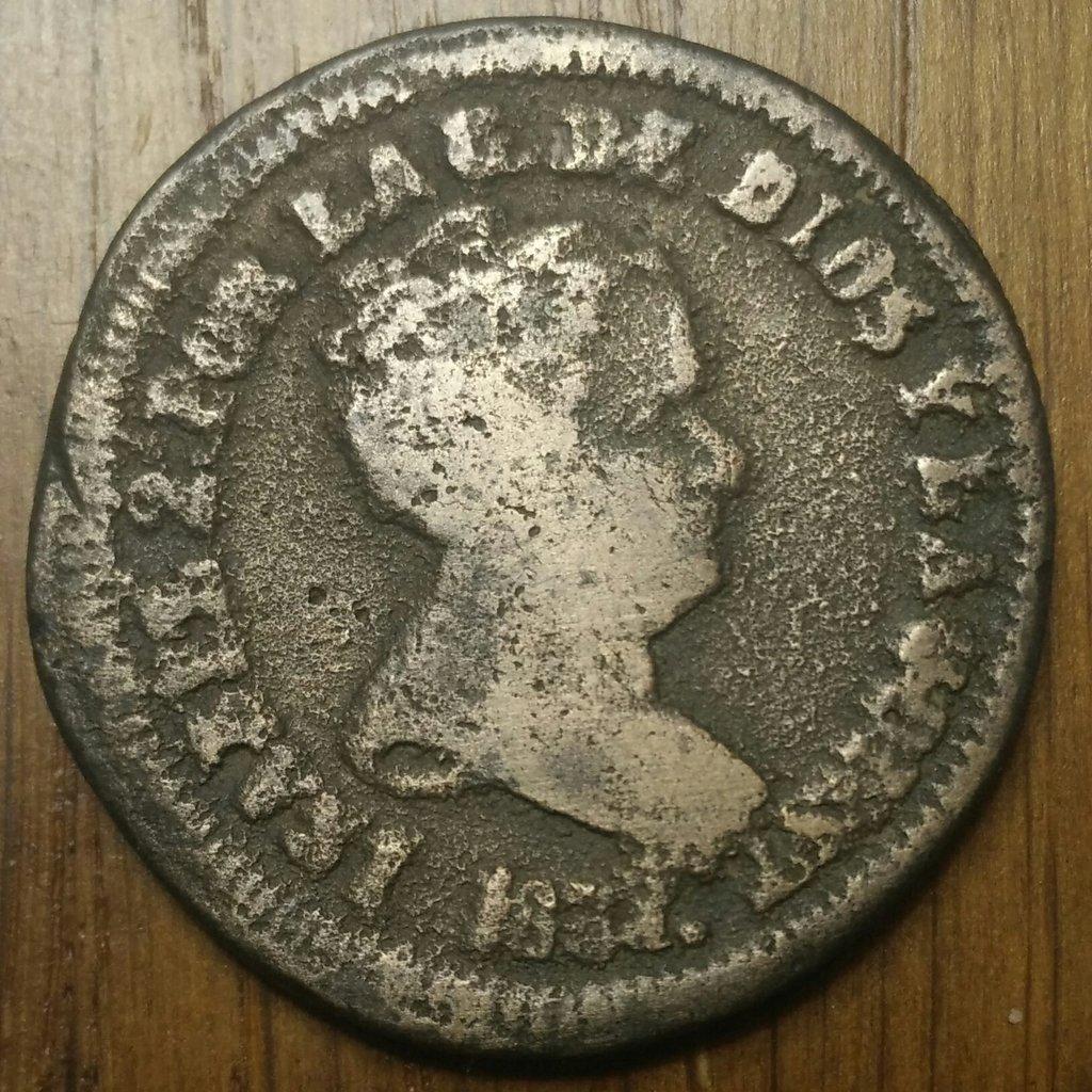 8 Maravedis 1837 Pamplona Isabel II Fundida 8-mara11