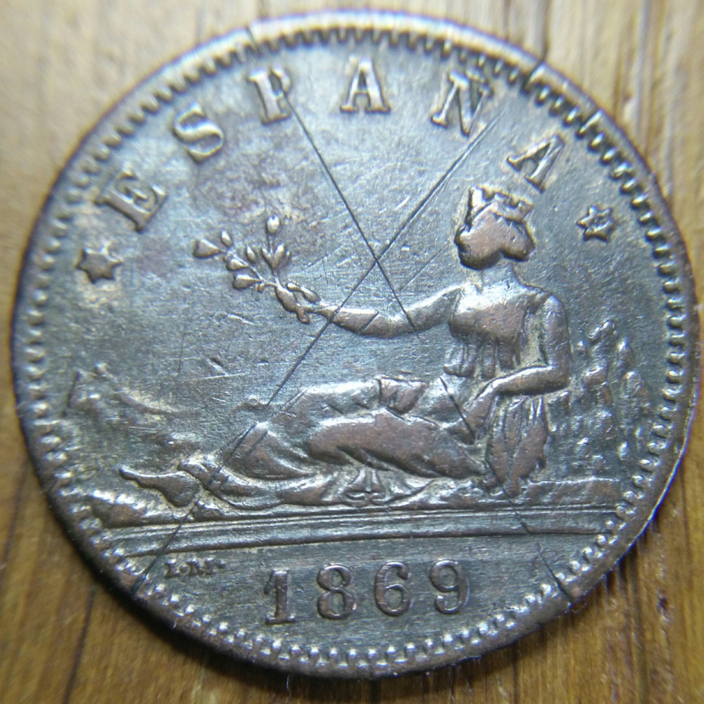 Una pesera 1869 leyenda ESPAÑA Cay17411