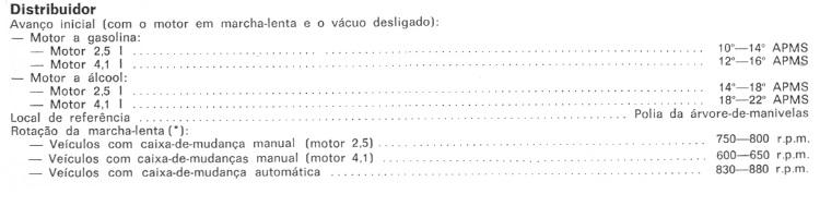 REGULAR PONTO OPALA 4CC A ALCOOL, IGNIÇÃO Pontoo10