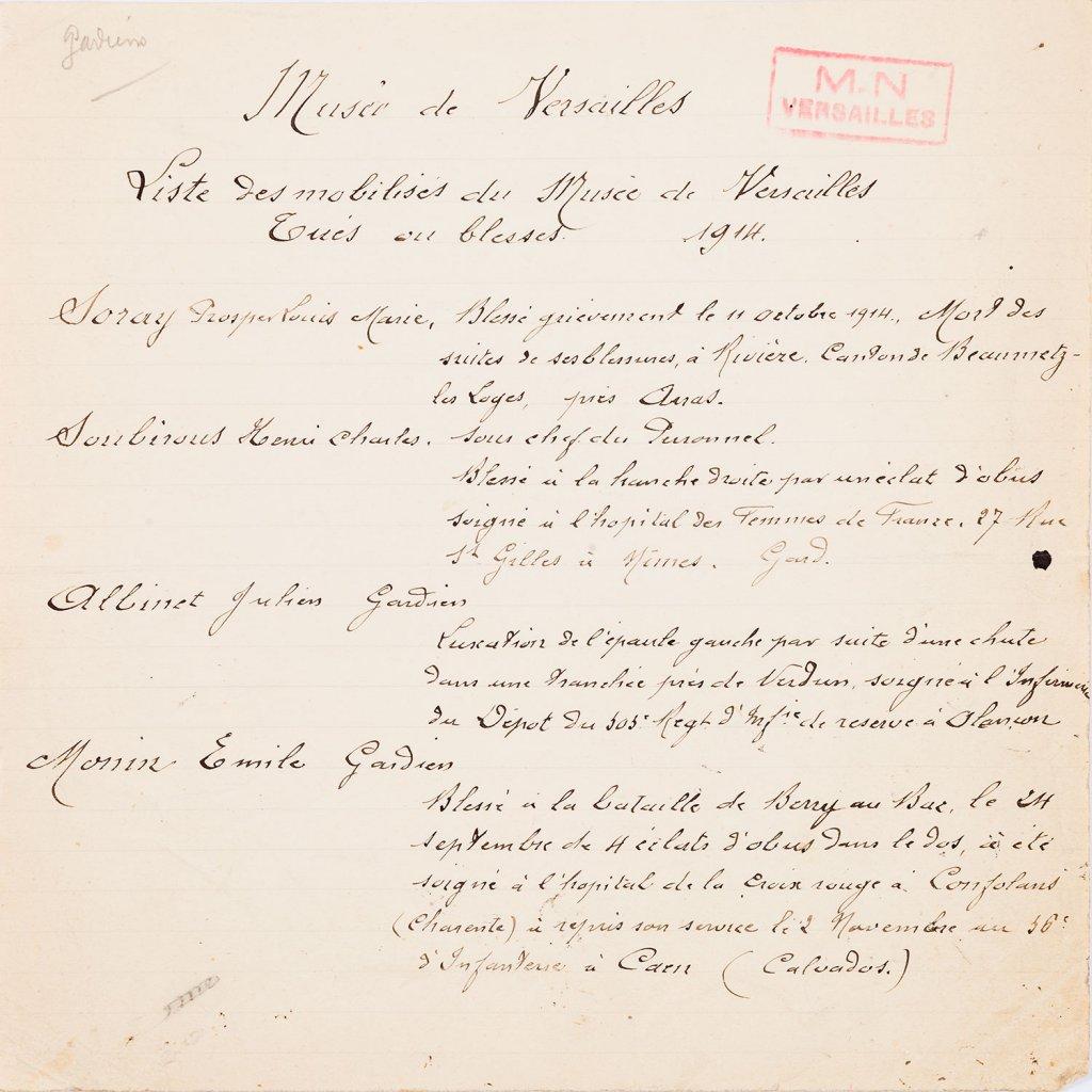 Carnets de Versailles - Hommage aux poilus du château Sib417