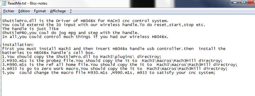 """paramétrage """"handwheel"""" et mach3 Read_m10"""